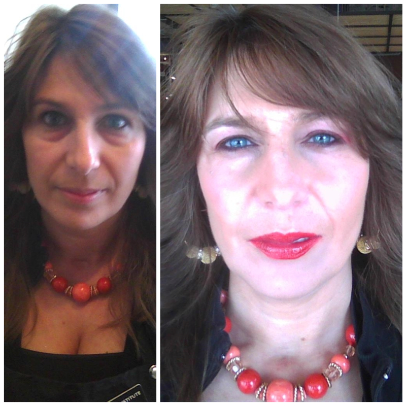 Before and After Art of Nature Aveda makeup application