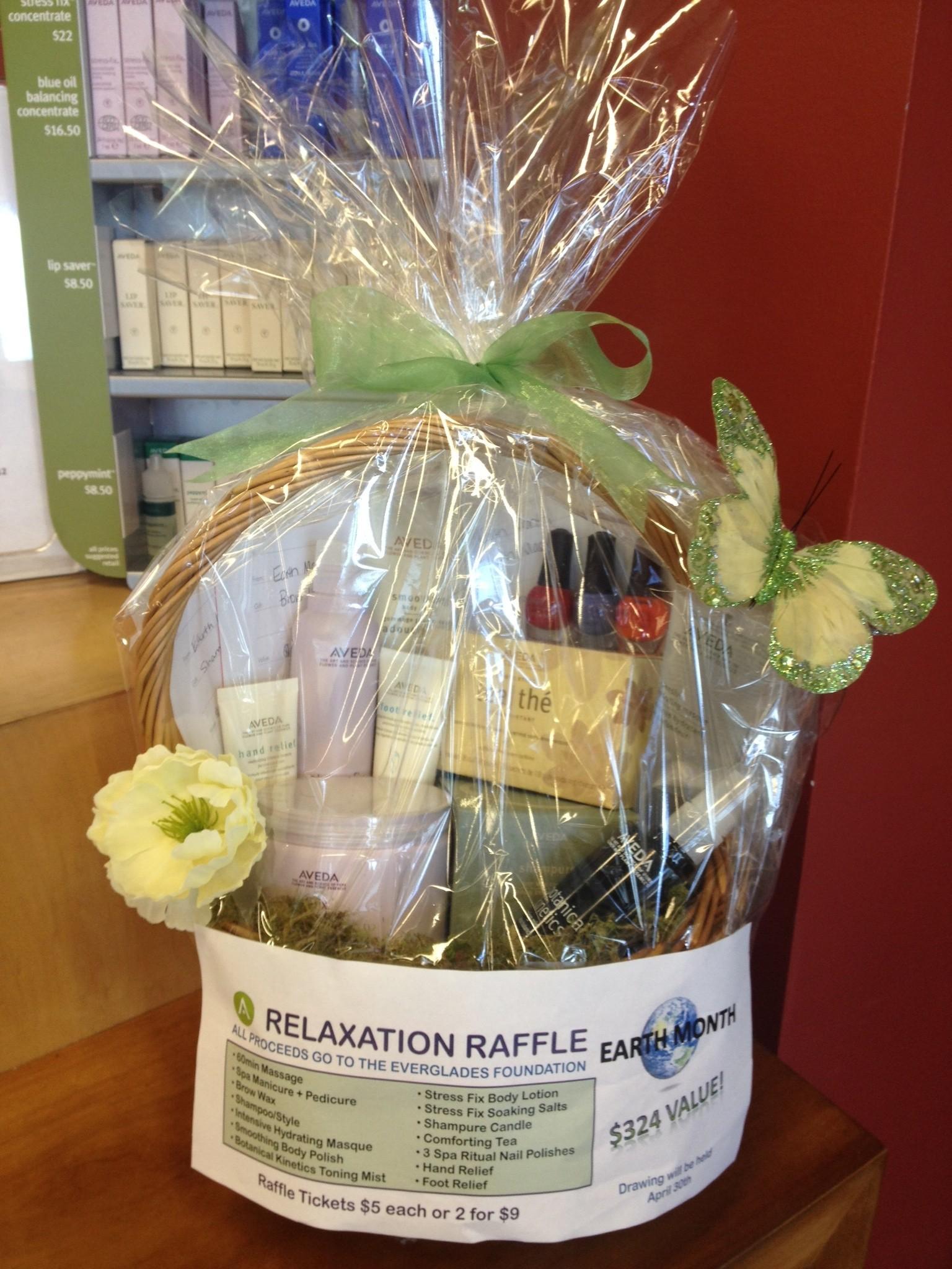 beauty school raffle basket for earth month fundraiser