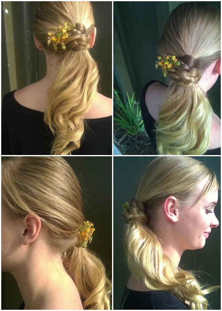 Simple Ponytail with elegant braind knot