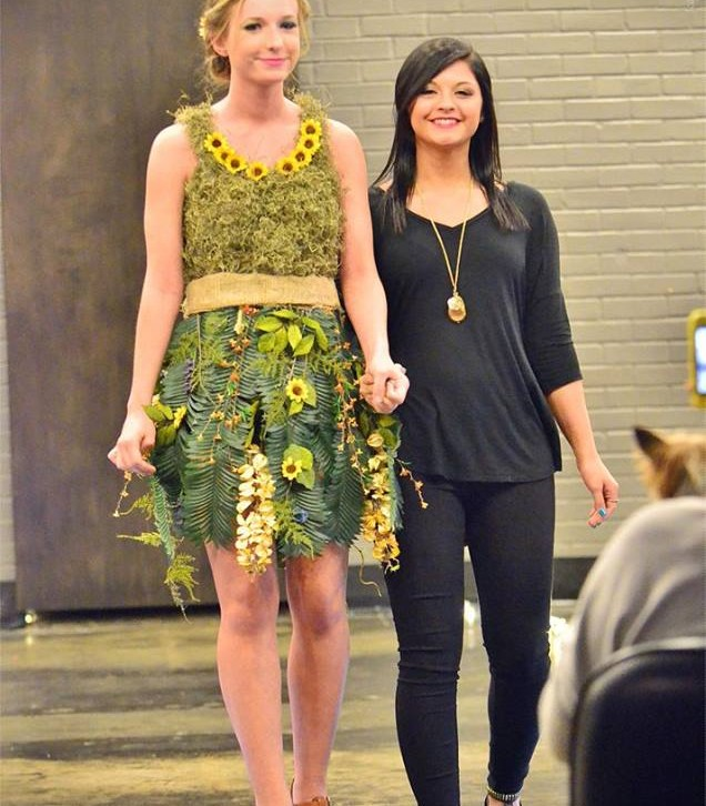 Catwalk for water dress made of leaves and flowers