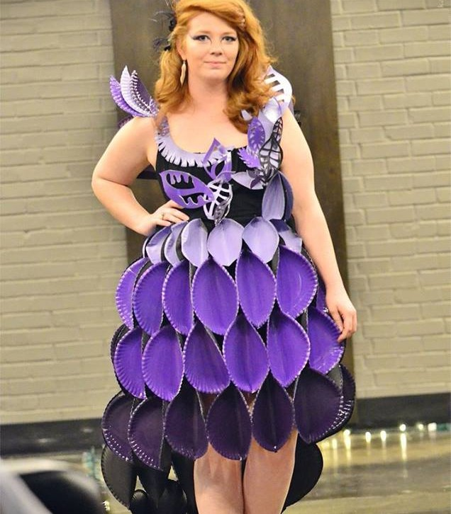 Dress made of purple paper plates