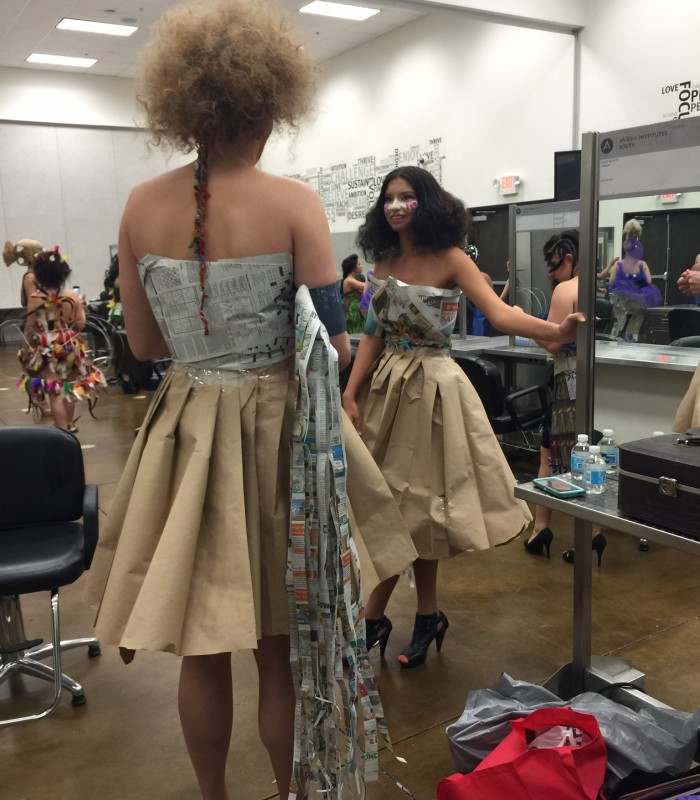 Image of models backstage for Catwalk for Water fashion show